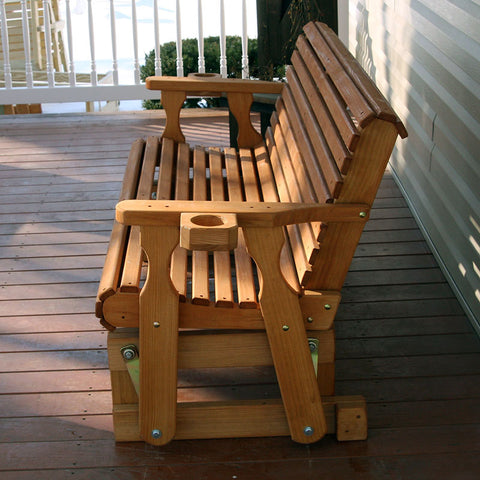 Centerville Amish Heavy Duty 800 Lb Roll Back Treated Porch Glider