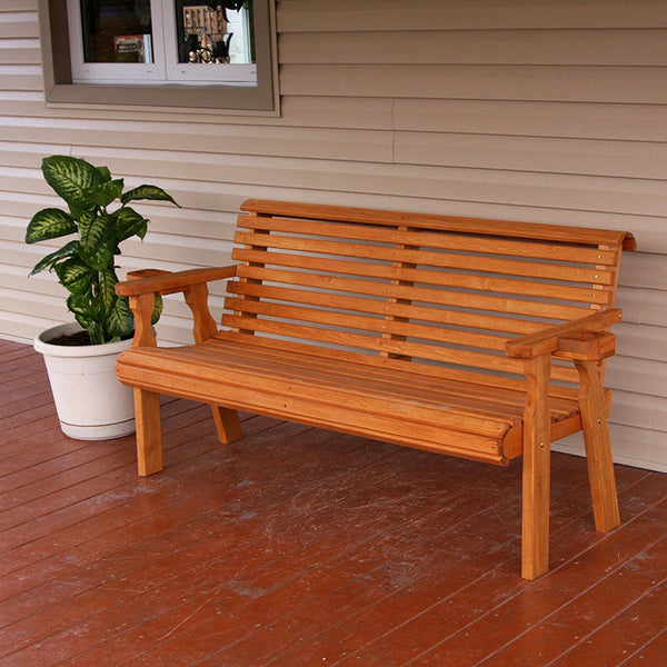 Red Oak Kitchen Table, Centerville Amish Heavy Duty 800 Lb Roll Back Treated Garden Bench Theporchswingcompany Com