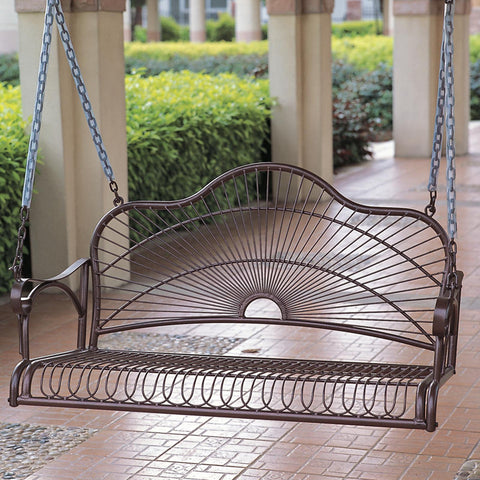 International Caravan Sun Ray 4ft. Wrought Iron Porch Swing