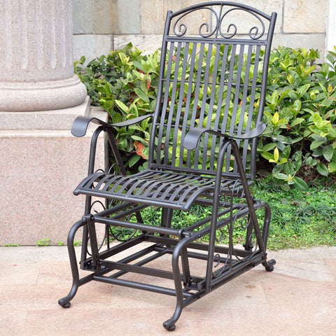 International Caravan Mandalay Wrought Iron Single Patio Glider