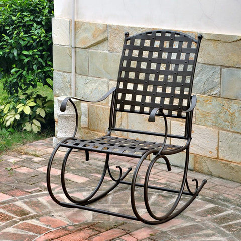 International Caravan Santa Fe Wrought Iron Rocking Chair