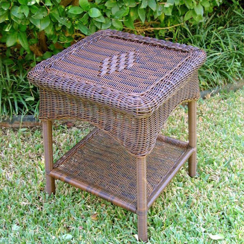 International Caravan Diamonds Resin Wicker Side Table