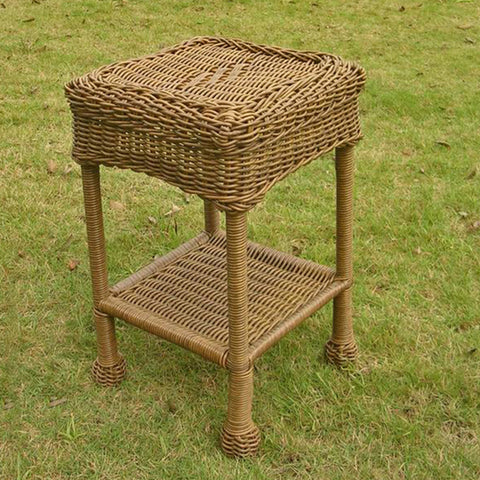 International Caravan Diamonds Two-Shelf Square Resin Wicker Side Table