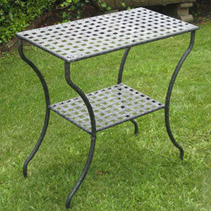 International Caravan Mandalay Wrought Iron Two-Shelf Rectangle Table