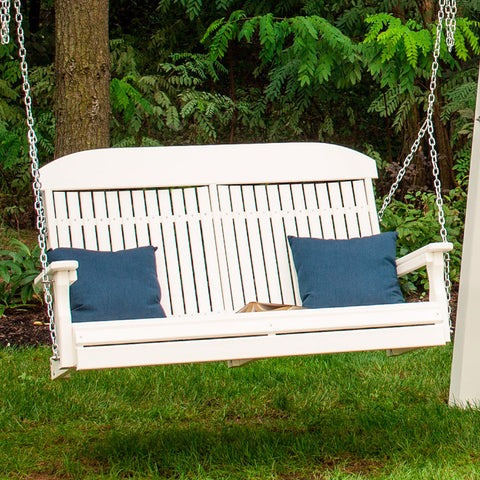 LuxCraft Classic Highback 4ft. Recycled Plastic Porch Swing