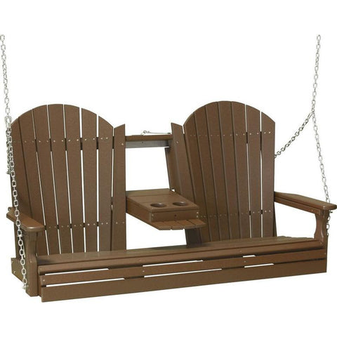 LuxCraft Adirondack Console 5ft. Recycled Plastic Porch Swing