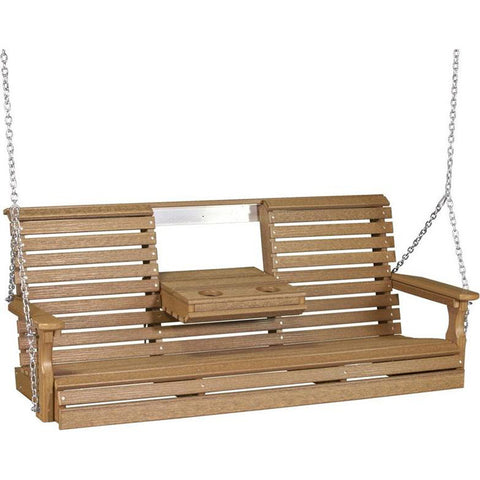 LuxCraft Rollback Console 5ft. Recycled Plastic Porch Swing