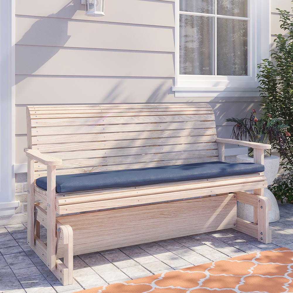 La Swings Solid Cypress Wooden Gliding Bench Theporchswingcompany Com