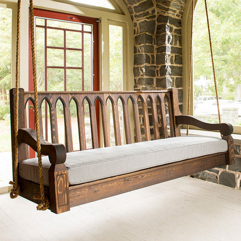 Nostalgic Cathedral Red Cedar Porch Swing