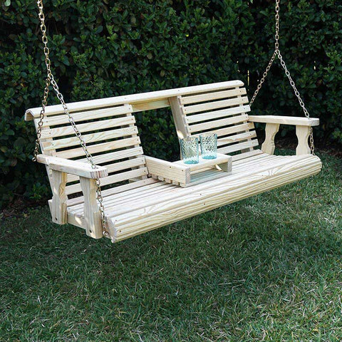 Porchgate Amish Heavy Duty 700 Lb Rollback Console Treated Porch Swing
