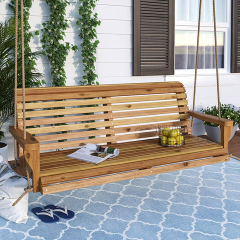 Porchgate Classic Roll Back Red Cedar Porch Swing
