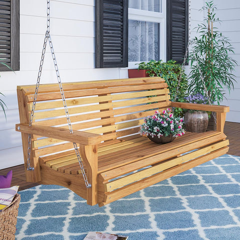 Texas Cedar Co. Contoured Classic Red Cedar Porch Swing