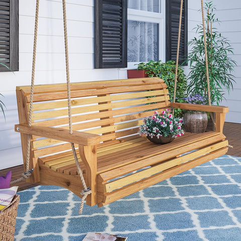 Porchgate Contoured Classic Red Cedar Porch Swing