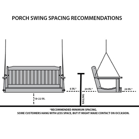 Centerville Amish Heavy Duty 700 Lb Roll Back White Porch Swing