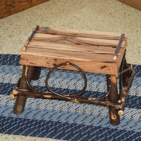A&L Furniture Co. Rustic Hickory Foot Stool