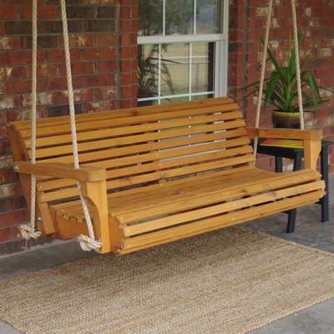 TMP Outdoor Furniture Contoured Classic Red Cedar Porch Swing