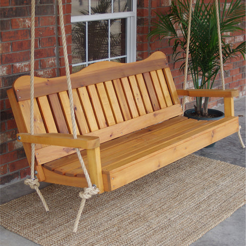 TMP Outdoor Furniture Decorative Red Cedar Porch Swing