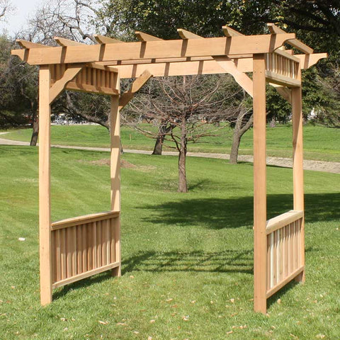 TMP Outdoor Furniture Red Cedar Deluxe Decorative Style Swing Arbor Stand