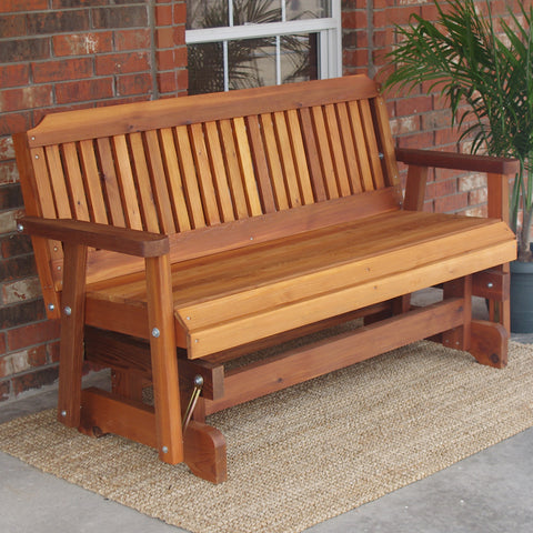 TMP Outdoor Furniture Traditional Red Cedar Outdoor Glider