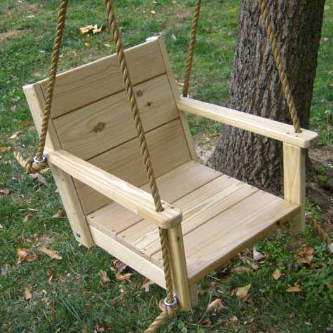 Wood Swings Co. Adult Engravable Wooden Rope Swing Chair