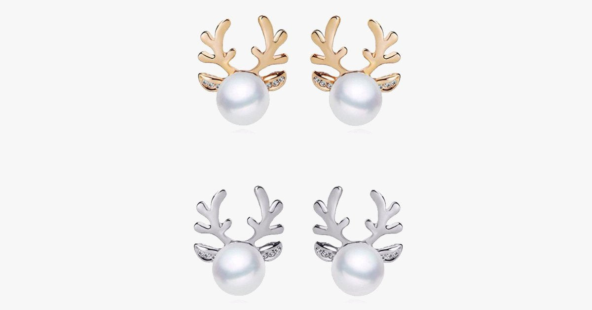 Crystal Antler Pearl Earrings & Necklace Set - FREE SHIP DEALS
