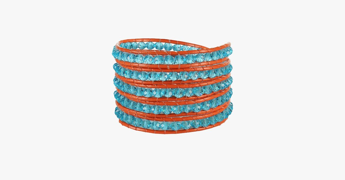 Crystal Blue Beads on Red Leather Wrap Bracelet - FREE SHIP DEALS