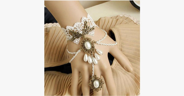 White Pearl Ring-to-Wrist Bracelet - FREE SHIP DEALS