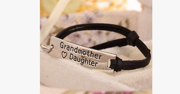 Grandmother Love Daughter Leather Strap Bracelet - FREE SHIP DEALS
