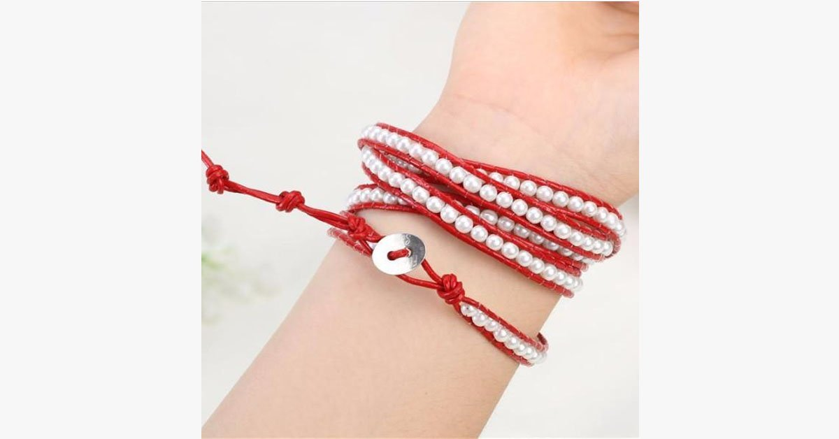 White Pearl on Red Leather - FREE SHIP DEALS