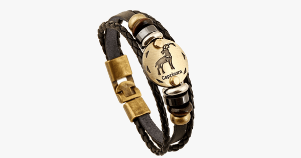 Zodiac Signs Black Gallstone Leather Bracelet - FREE SHIP DEALS