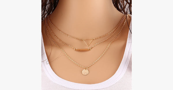 Vintage Hollow out Triangle Layer Necklace - FREE SHIP DEALS