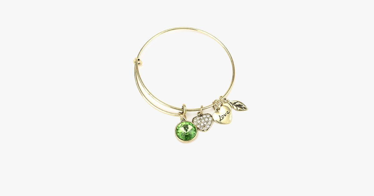 August Birthstone Charm Bangle - FREE SHIP DEALS