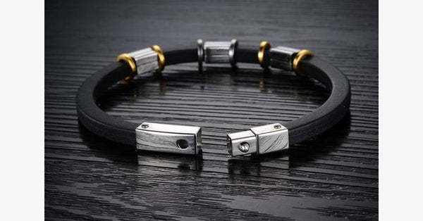 Punk Gold Stainless Steel Black Genuine Silicone Men's Bracelet - FREE SHIP DEALS