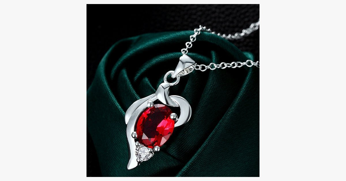 Elegant Ruby Crystal Necklace - FREE SHIP DEALS