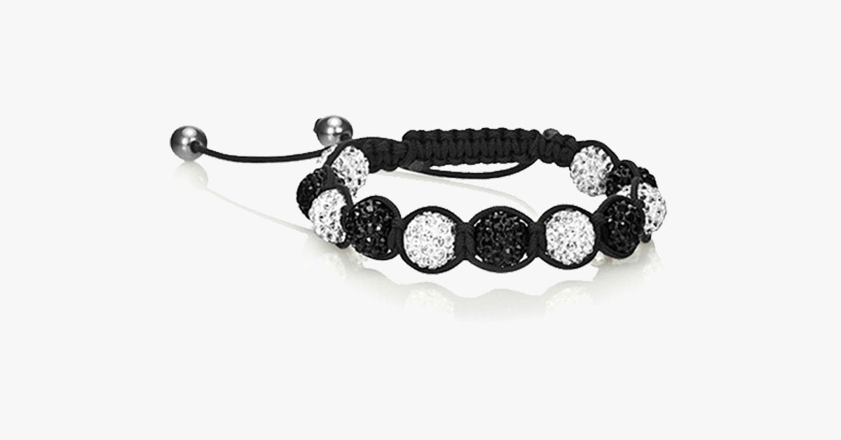 White & Black Crystal Balla Style Adjustable Bracelet - FREE SHIP DEALS