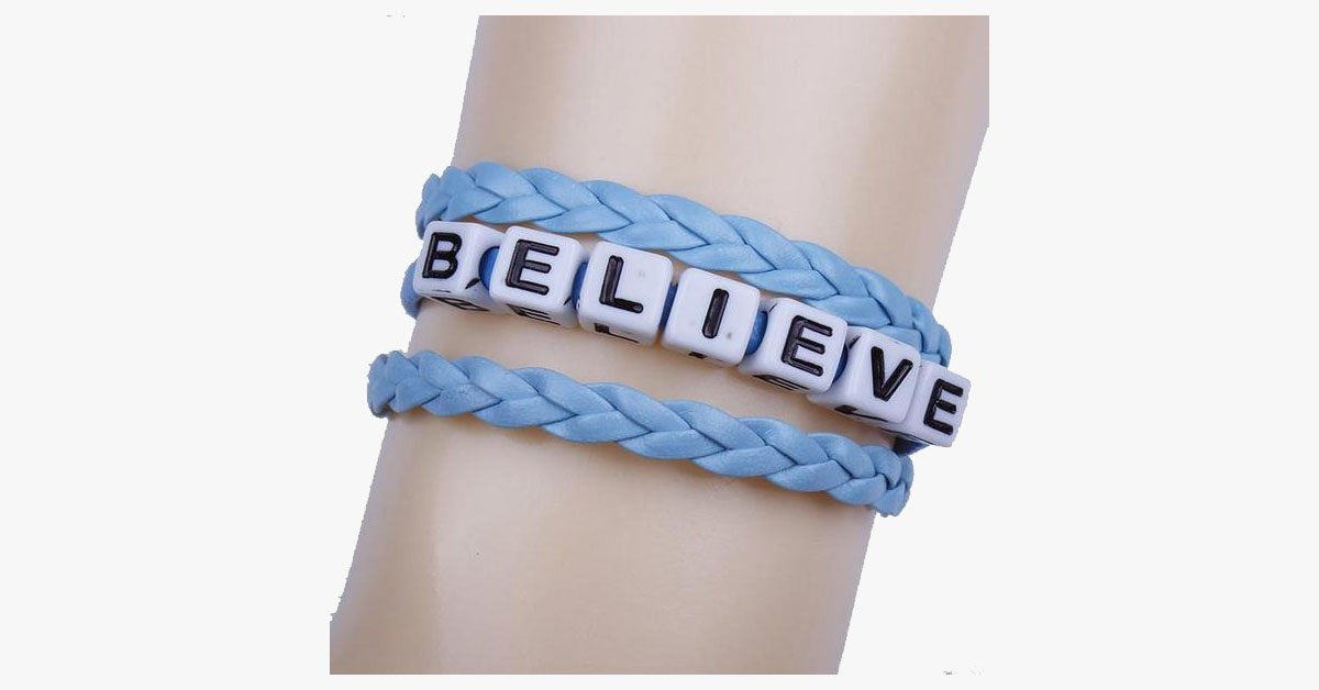 Braided Leather Believe Bracelet - FREE SHIP DEALS