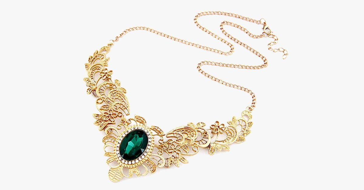 Green Emerald Statement Necklace - FREE SHIP DEALS