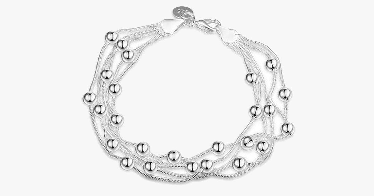 Silver Sweet Pea Beaded Bracelet - FREE SHIP DEALS