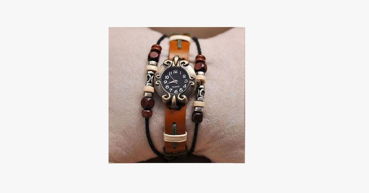 Buddha Beads Leather Watch - FREE SHIP DEALS