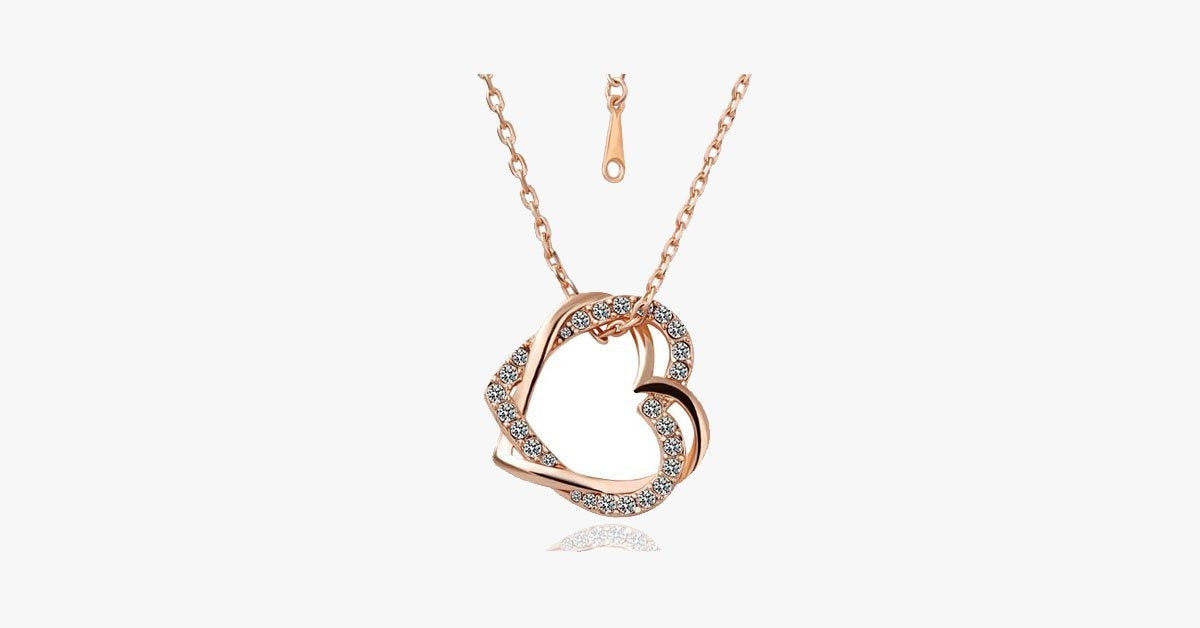 Crystal Double Heart Necklaces - FREE SHIP DEALS