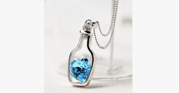 Love Bottle Gemstone Pendant Necklace - FREE SHIP DEALS