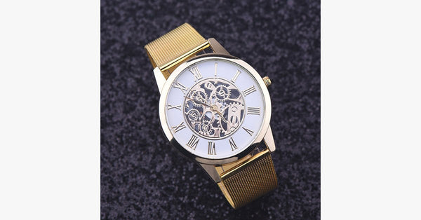 Simple Golden Stainless Steel Thin Strap Watch - FREE SHIP DEALS