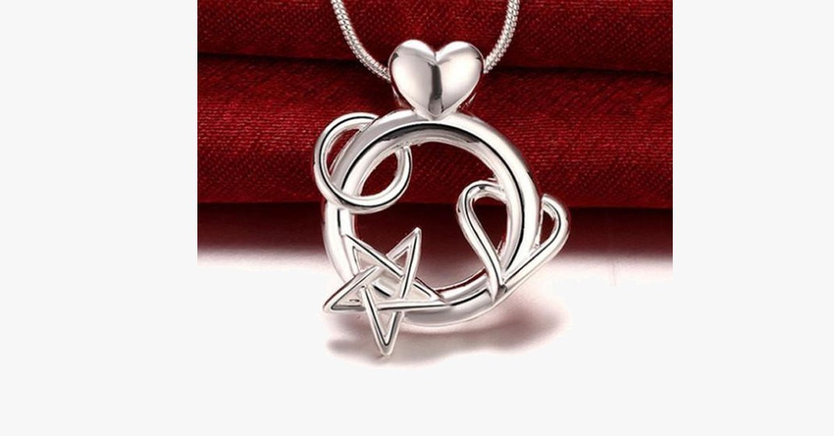 Heart and Star Combo Pendant Necklace - FREE SHIP DEALS