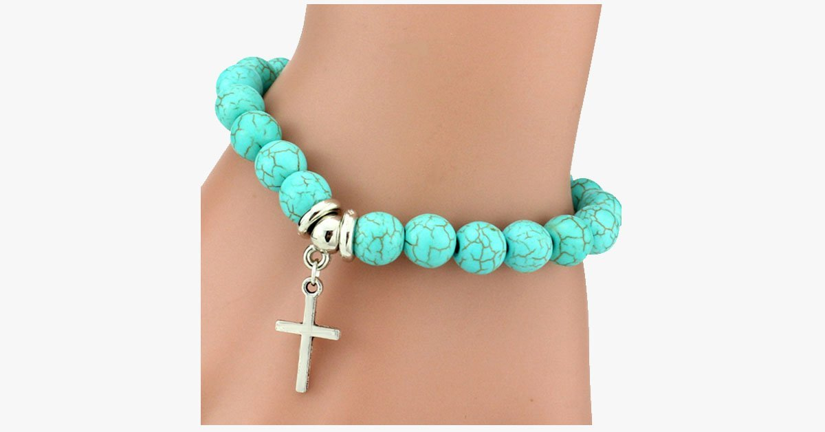 Virtuous Cross Turquoise Bracelet - FREE SHIP DEALS