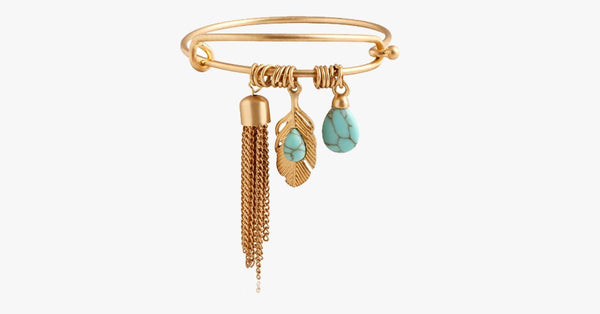 Vintage Turquoise Tassel Bangle 14K Gold Plated - FREE SHIP DEALS