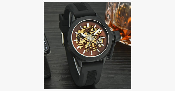 Black Silicone Strap Mechanical Watch - FREE SHIP DEALS