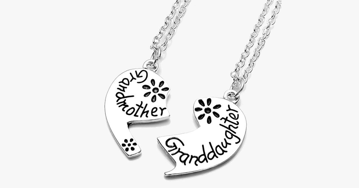 Love Heart Grandmother Granddaughter Pendant Necklace - FREE SHIP DEALS