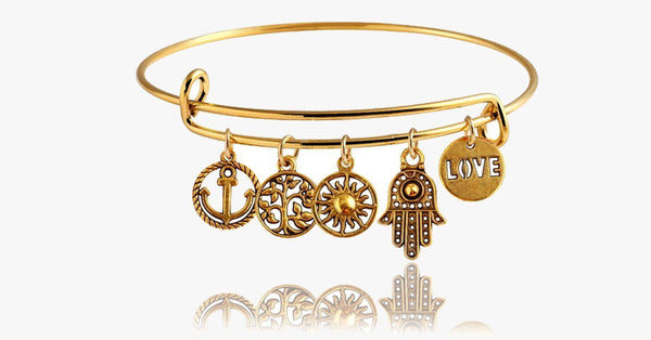 Gold Destiny Charm Bangle - FREE SHIP DEALS