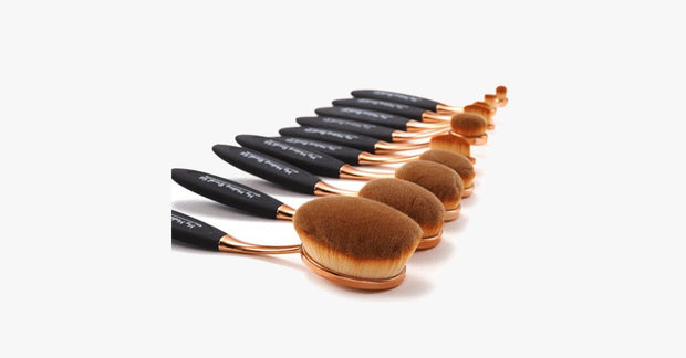 Black and Gold Oval Brush Set - FREE SHIP DEALS