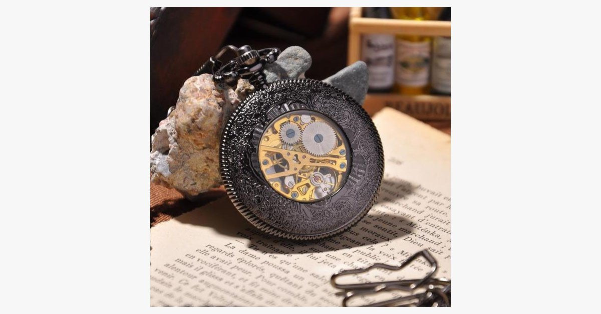 Black Cage Full Hunter Pocket Watch - FREE SHIP DEALS